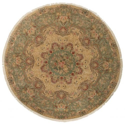 10×10 Aubusson Beige Oriental Round Rug 014369