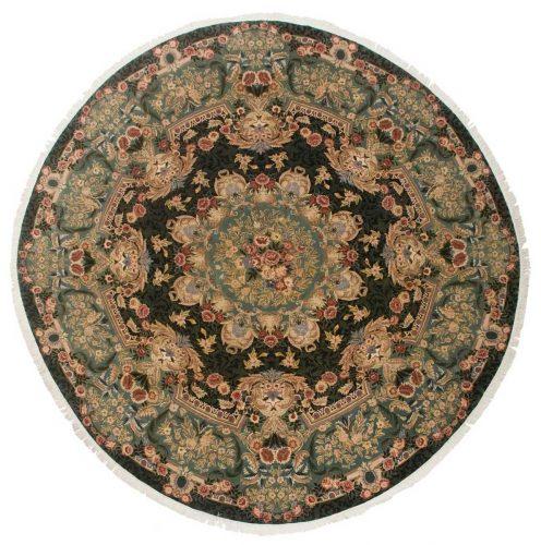 10×10 Aubusson Black Oriental Round Rug 014374