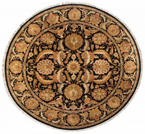 10×10 Jaipur Black Oriental Round Rug 025557