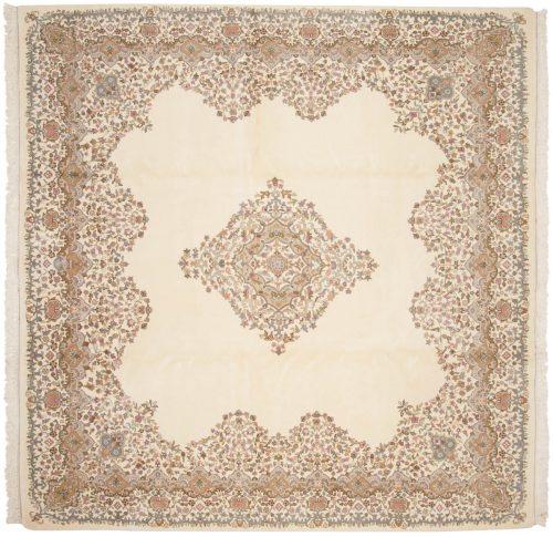 10×10 Kerman Ivory Oriental Square Rug 016297