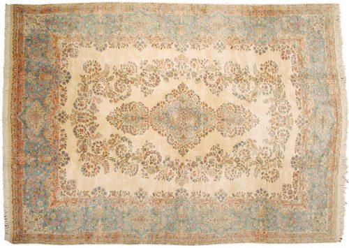 10×13 Persian Kerman Ivory Oriental Large Rug 017123