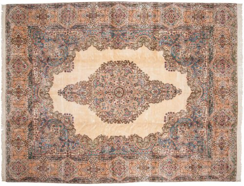 10×13 Persian Kerman Ivory Oriental Large Rug 017562