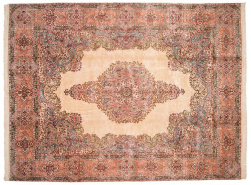 10×13 Persian Kerman Ivory Oriental Large Rug 017595