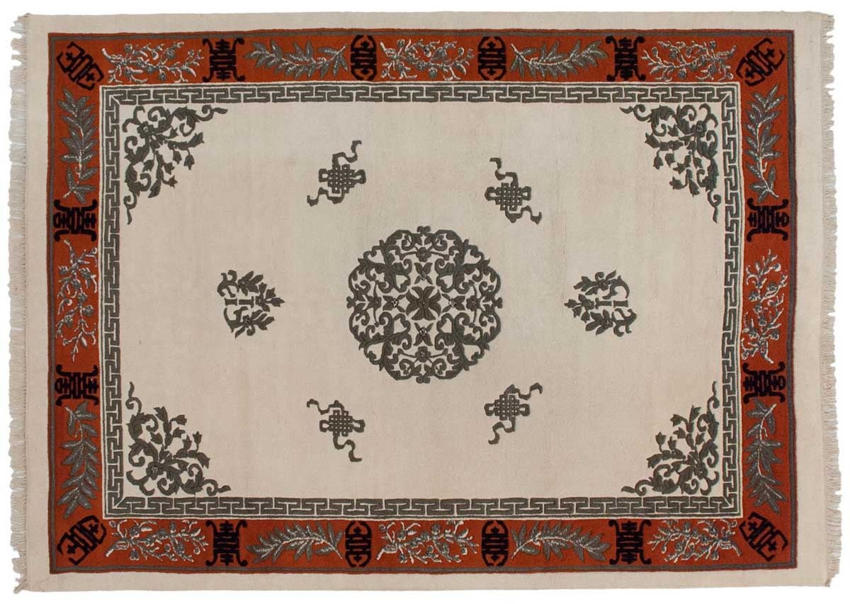10x14 Chinese Ivory Oriental Rug 043316