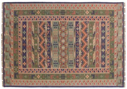 10×14 Dhurrie Multi Color Oriental Large Rug 024069