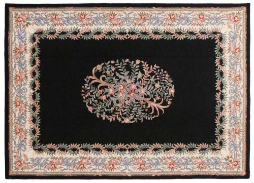 10×14 Savonnerie Black Oriental Large Rug 029439