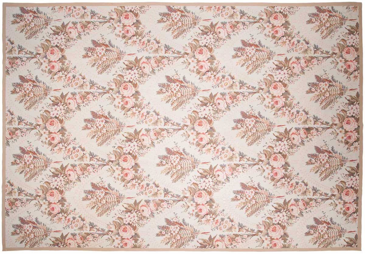 10x14 Floral Ivory Oriental Large Rug 014326
