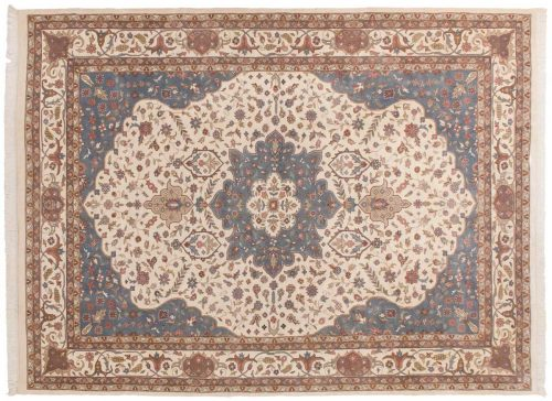 10×14 Tabriz Ivory Oriental Rug 015078