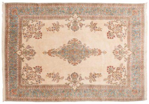 10×14 Persian Kerman Ivory Oriental Square Rug 013557