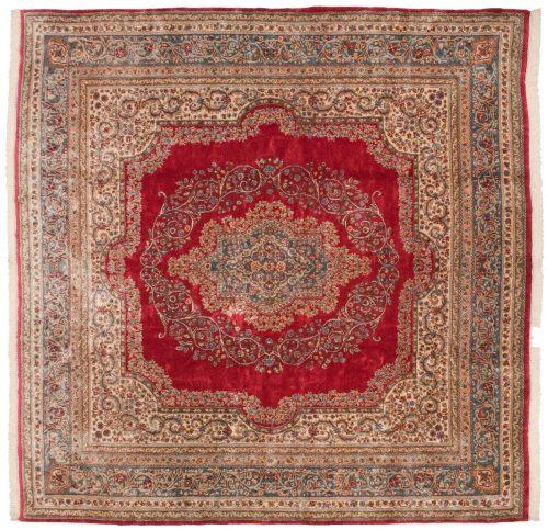11×11 Persian Kerman Rose Oriental Square Rug 017575
