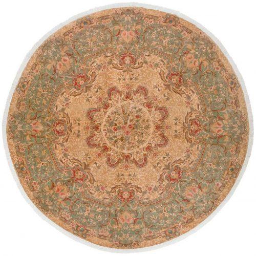 12×12 Aubusson Beige Oriental Round Rug 014375