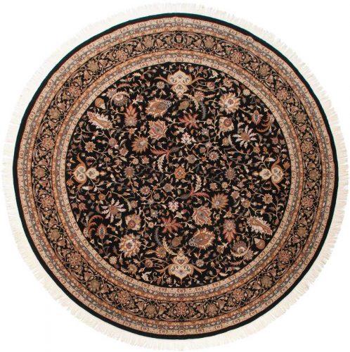 12×12 Isfahan Black Oriental Round Rug 039666