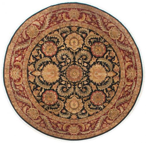 12×12 Jaipur Black Oriental Round Rug 025559