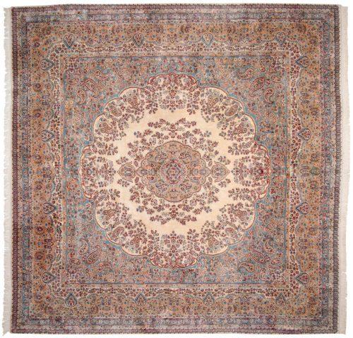 12×12 Persian Kerman Ivory Oriental Square Rug 017609