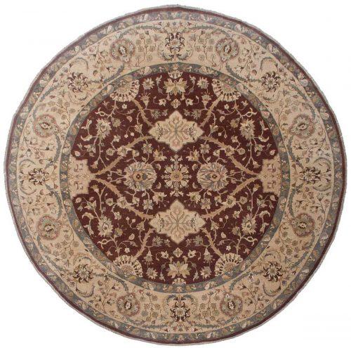 12×12 Sultanabad Burgundy Oriental Round Rug 017723
