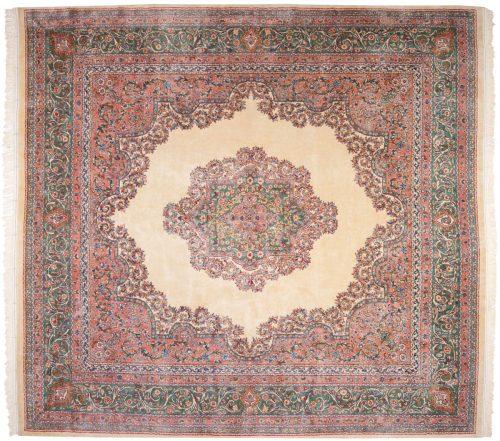 12×13 Persian Kerman Ivory Oriental Square Rug 017591