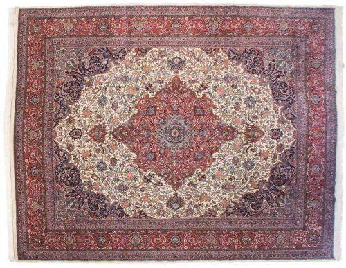 12×15 Kashan Ivory Oriental Large Rug 030886