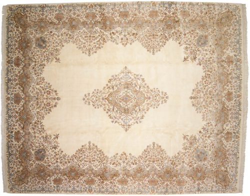 12×15 Kerman Ivory Oriental Large Rug 015308