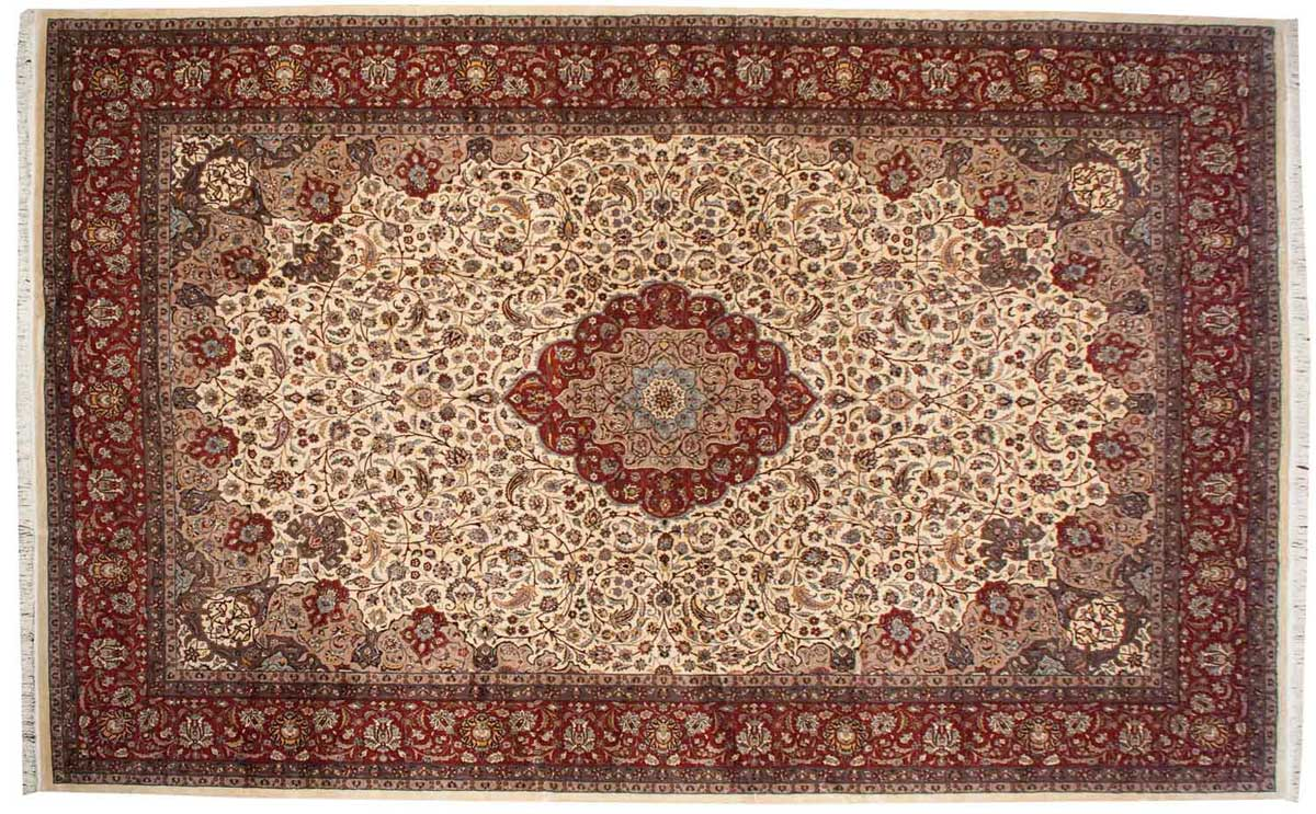 12x19 Persian Ivory Oriental Large Rug 021535