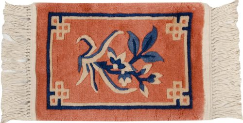 1×1 Floral Rust Oriental Square Rug 017867