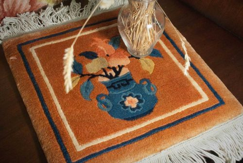 1×1 Peking Rust Oriental Mini Rug 018190