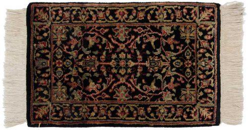 1×2 Tabriz Black Oriental Rug 039191