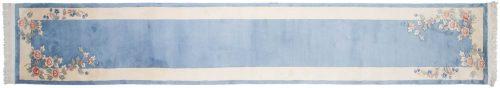 2×15 Floral Blue Oriental Rug Runner 018882