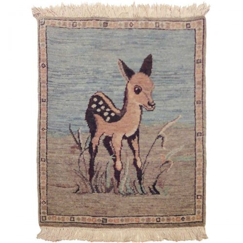 2×2 Folk Art Blue Oriental Rug 020728