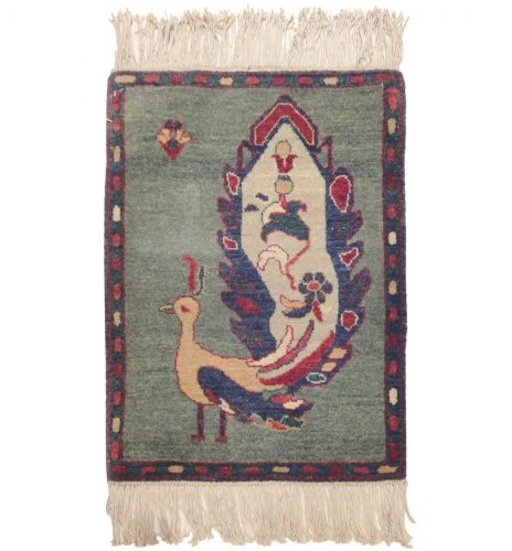 2×2 Folk Art Green Oriental Rug 020401