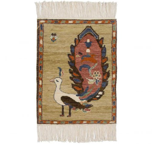 2×2 Folk Art Yellow Oriental Rug 020322