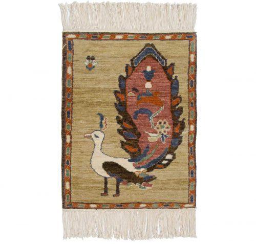 2×2 Folk Art Yellow Oriental Rug 020322