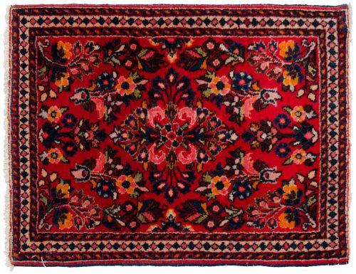 2×2 Persian Sarouk Red Oriental Square Rug 013782