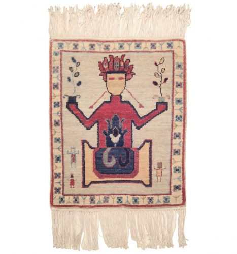 2×2 Folk Art Ivory Oriental Square Rug 020340