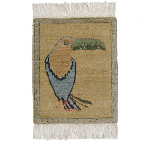 2×2 Folk Art Gold Oriental Rug 020452
