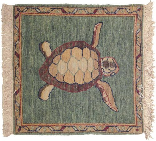 2×2 Folk Art Green Oriental Square Rug 020934