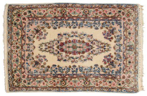 2×3 Persian Kerman Ivory Oriental Rug 017303