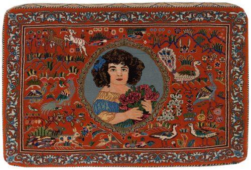 2×3 Persian Tabriz Rose Oriental Rug 040008