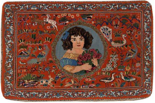 2×3 Persian Tabriz Rose Oriental Rug 040033