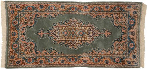 2×4 Persian Kerman Green Oriental Rug 026450