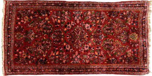 2×4 Persian Sarouk Red Oriental Rug 034717