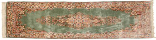 2×8 Persian Kerman Green Oriental Rug Runner 017331