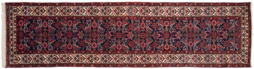 2×9 Persian Borchalou Blue Oriental Rug Runner 013992