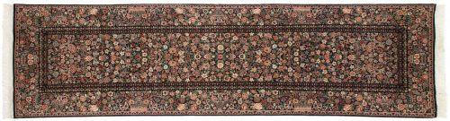 3×11 Aubusson Black Oriental Rug Runner 026149