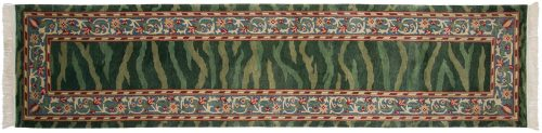 3×12 William Morris Green Oriental Rug Runner 031330