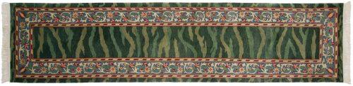3×12 William Morris Green Oriental Rug Runner 031330