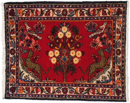 3×3 Persian Borchalou Red Oriental Square Rug 034830