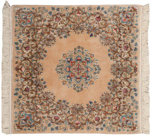 3×3 Persian Kerman Peach Oriental Square Rug 017338