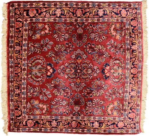 3×3 Persian Sarouk Red Oriental Square Rug 034716