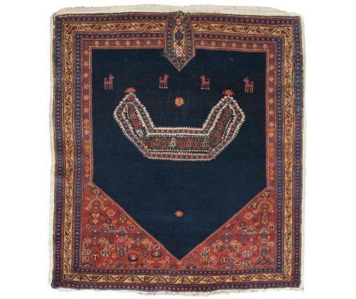 3×3 Persian Senna Blue Oriental Square Rug 035701