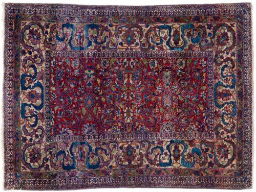 3×3 Persian Tabriz Red Oriental Square Rug 011272
